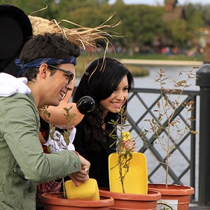 2 of 10: Epcot - Celebrities Demi Lovato and Joe Jonas at Epcot