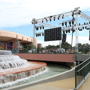 1 of 6: Epcot - Fountain stage setup for Disney's Volunteers party