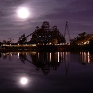 1 of 9: Expedition Everest - Expedition Everest construction by moonlight