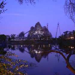 Expedition Everest construction by moonlight