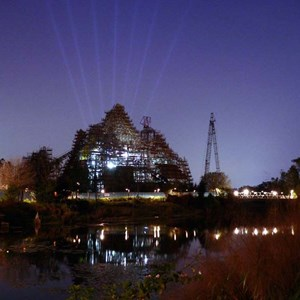 3 of 9: Expedition Everest - Expedition Everest construction by moonlight