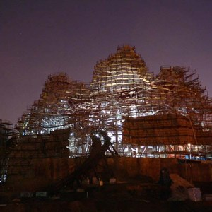 8 of 9: Expedition Everest - Expedition Everest construction by moonlight