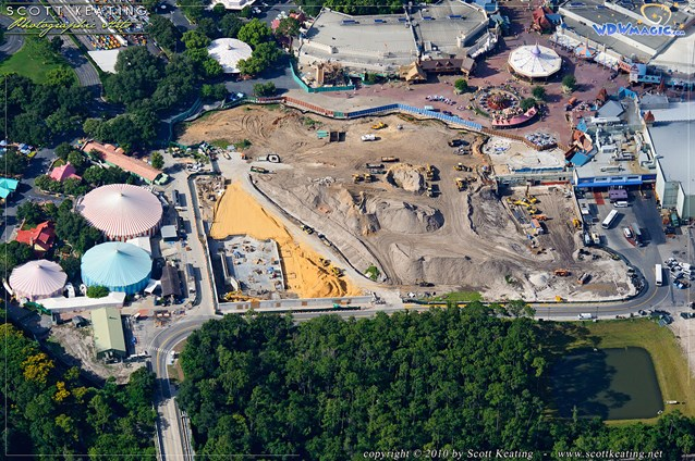 Fantasyland - Fantasyland aerial photo showing construction of the Little Mermaid attraction and ground clearing for the other expansion areas
