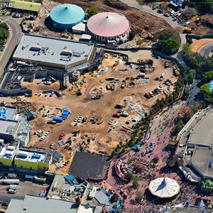 2 of 8: Fantasyland - View of the Fantasyland area - Beast's Castle in the lower left, Little Mermaid in the upper left, the large cleared area in the center to be the Mine Train coaster