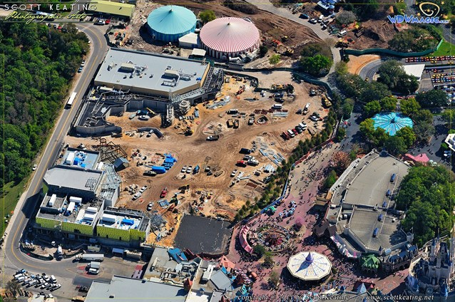 Fantasyland - View of the Fantasyland area - Beast's Castle in the lower left, Little Mermaid in the upper left, the large cleared area in the center to be the Mine Train coaster