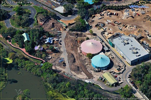 Fantasyland - Mickey's Toontown Fair - Mickey and Minnie's houses, Donald's Boat and the train station are demolished. Barnstormer (to the left) and two of the tents remain to be used in the new Storybook Circus.