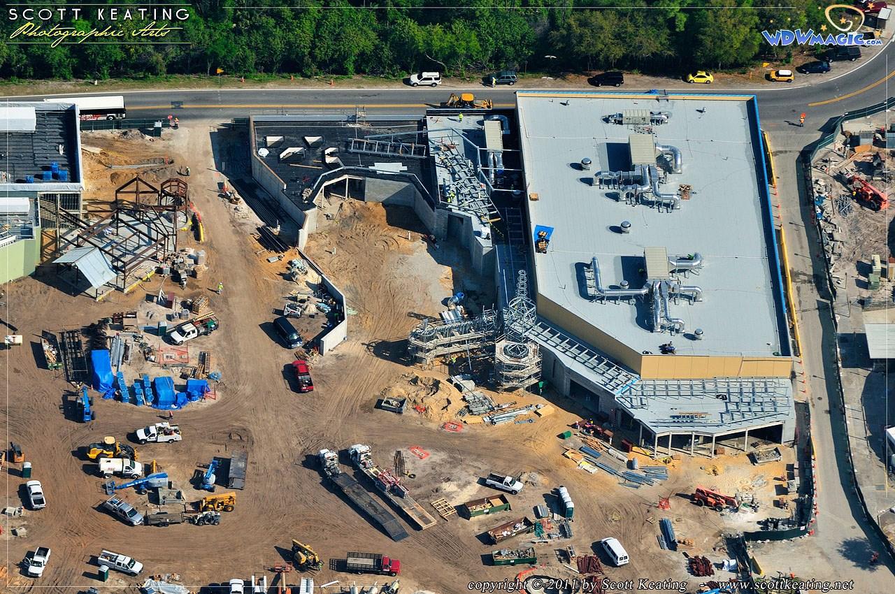 Aerial view closeups of construction site