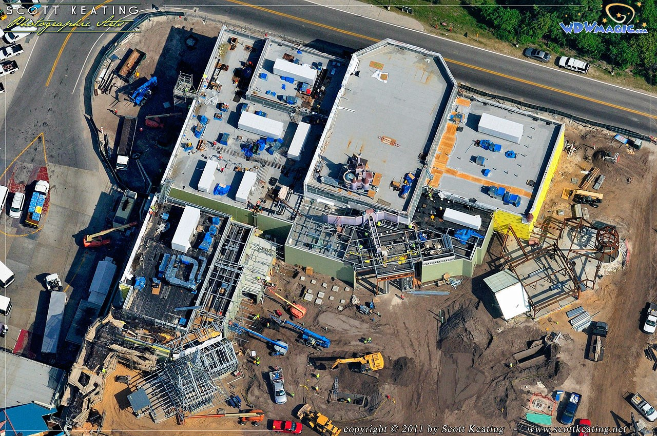Aerial view of Beauty and the Beast area