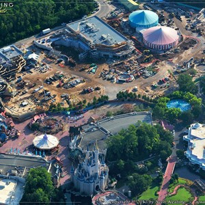 1 of 3: Fantasyland - The foundations for Dumbo are visible on the far right hand side of the image along with the queue building