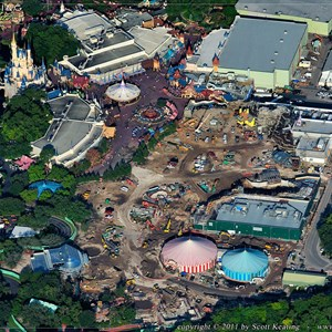2 of 3: Fantasyland - Storybook Circus is in the bottom center, with the Little Mermaid above in the center, and Beauty and the Beast  above that