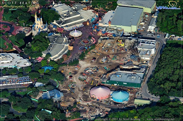 Fantasyland - Storybook Circus is in the bottom center, with the Little Mermaid above in the center, and Beauty and the Beast  above that