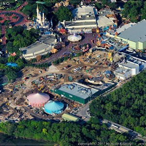3 of 3: Fantasyland - A view looking at the entire site, the large cleared area in the center will be for the Snow White coaster