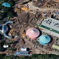 Fantasyland - New Dumbo on the left, Little Mermaid in the center right, and Mine Train Coaster area in the center