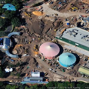 2 of 4: Fantasyland - New Dumbo on the left, Little Mermaid in the center right, and Mine Train Coaster area in the center