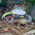 Fantasyland - New Dumbo (ride system installed on the left side), Great Goofini coaster on the far left