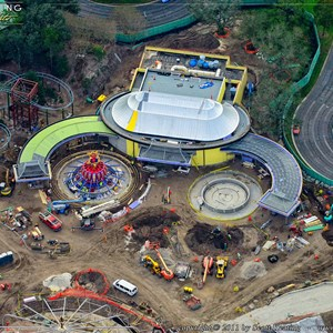 7 of 8: Fantasyland - New Dumbo (ride system installed on the left side), Great Goofini coaster on the far left