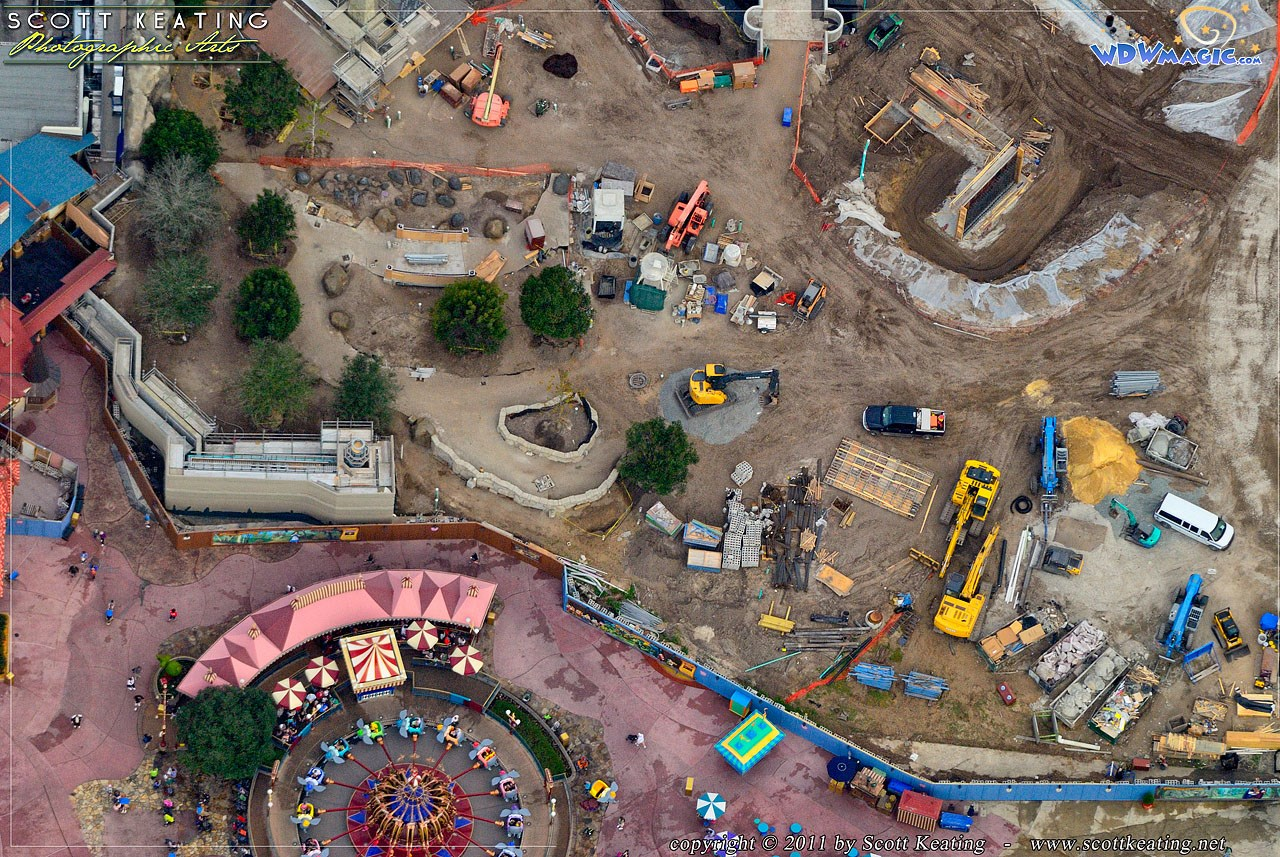 Aerial view of construction site
