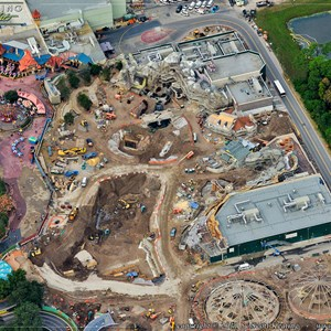 2 of 8: Fantasyland - Snow White Mine Train Coaster preparation in the center