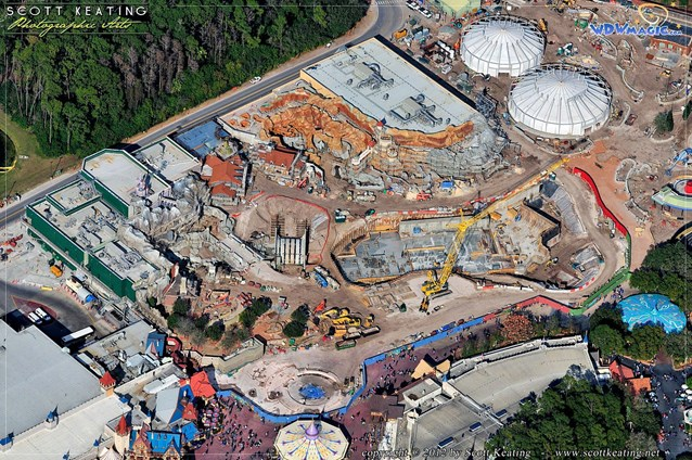 Fantasyland - Storybook Circus in the top right, Little Mermaid upper center, Beauty and the Beast far left, Seven Dwarfs Mine Train Coster center
