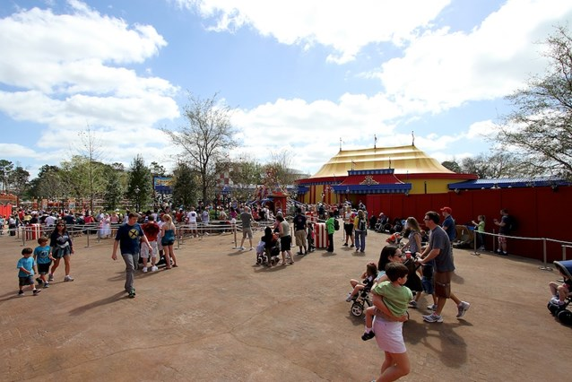 Fantasyland - The new Dumbo area, with the right side still under construction