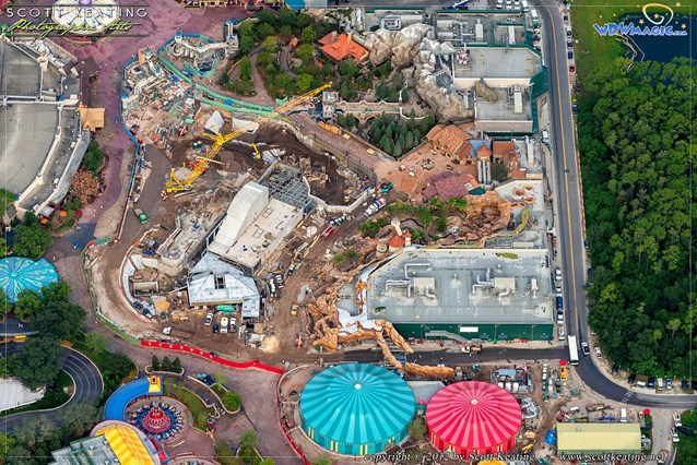 Fantasyland - Beauty and the Beast in the upper right, Storybook Circus in the bottom right, Snow White Mine Train coaster in the center.