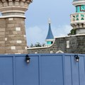 Fantasyland - One wall has been distressed, the other has not.