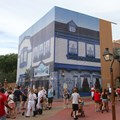 Fantasyland - Yankee Trader shop has been wrapped in a construction scrim