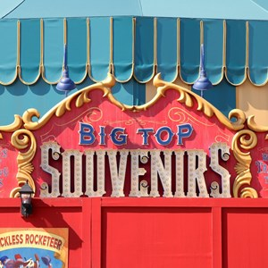 3 of 5: Fantasyland - Big Top Souvenirs signage in Storybook Circus