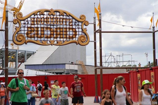 Fantasyland - Seven Dwarfs Mine Train coaster viewed from Storybook Circus