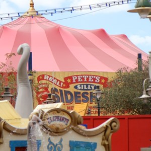 5 of 7: Fantasyland - Pete's Silly Sideshow signage in Storybook Circus