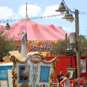 6 of 7: Fantasyland - Pete's Silly Sideshow signage in Storybook Circus