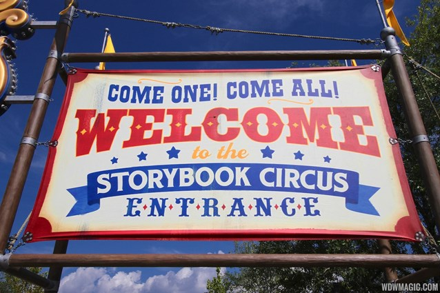 Fantasyland - Storybook Circus entrance signage welcome sign