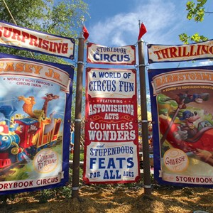 7 of 9: Fantasyland - Storybook Circus entrance signage right side billboards