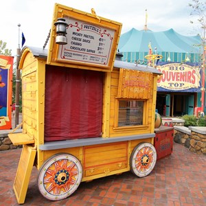 9 of 21: Fantasyland - Storybook Circus park and food area - Pretzels