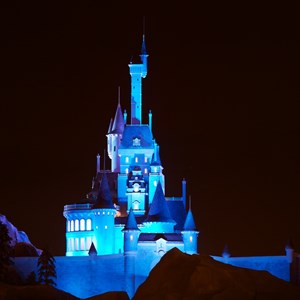 1 of 4: Fantasyland - Beast's Castle nighttime lighting scheme