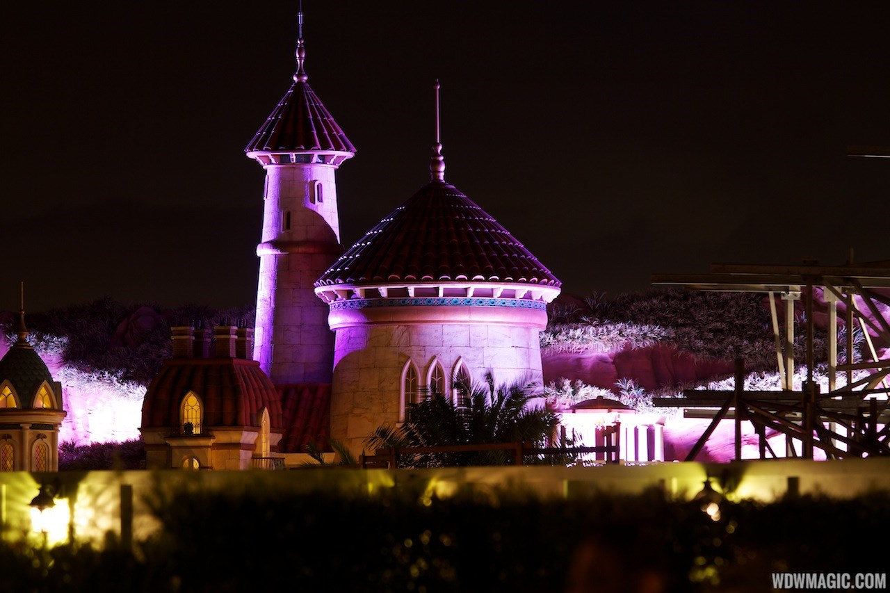 Beast's Castle and Little Mermaid nighttime lighting