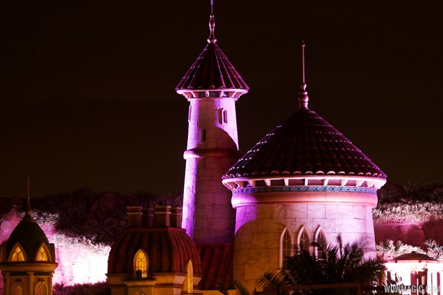 Fantasyland - NIghttime lighting at Prince Eric's Castle at the LIttle Mermaid