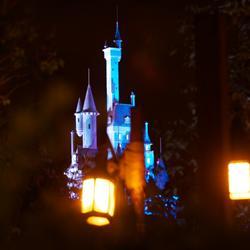 Beast's Castle and Little Mermaid nighttime lighting