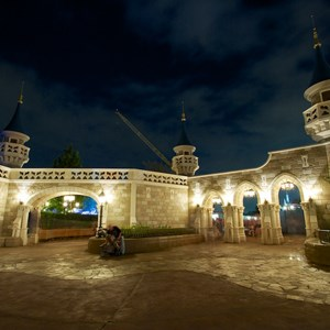 1 of 17: Fantasyland - Fantasyland castle walls nighttime lighting