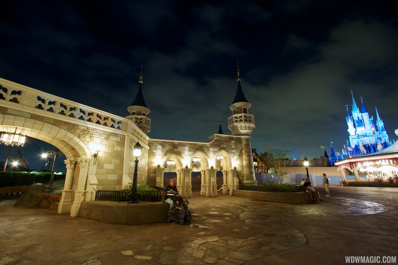 Fantasyland castle walls after dark
