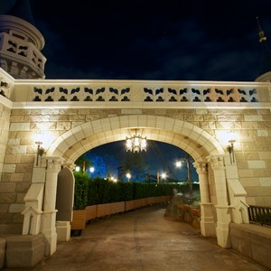 3 of 17: Fantasyland - Fantasyland castle walls nighttime lighting