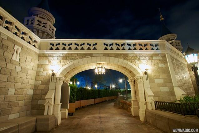 Fantasyland - Fantasyland castle walls nighttime lighting