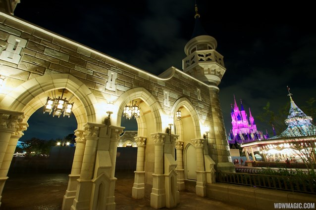 Fantasyland - Fantasyland castle walls after dark