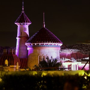 15 of 17: Fantasyland - Prince Eric's Castle at nighttime