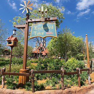 22 of 40: Fantasyland - New Fantasyland Enchanted Forest - Enchanted Tales with Belle signage