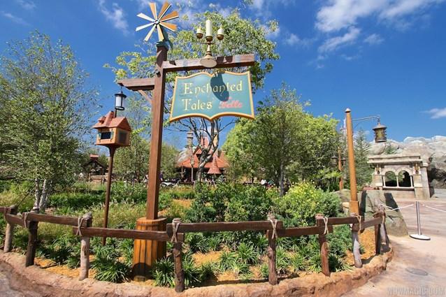 Fantasyland - New Fantasyland Enchanted Forest - Enchanted Tales with Belle signage