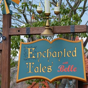 39 of 40: Fantasyland - New Fantasyland Enchanted Forest - Enchanted Tales with Belle entrance sign