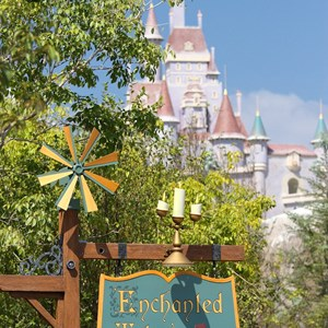 40 of 40: Fantasyland - New Fantasyland Enchanted Forest - Enchanted Tales with Belle entrance sign