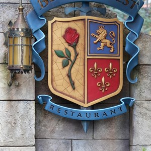 4 of 40: Fantasyland - New Fantasyland Enchanted Forest - Be Our Guest Restaurant marquee
