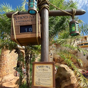 12 of 43: Fantasyland - Fantasyland soft opening - Under the Sea - Journey of the Little Mermaid standby wait time sign